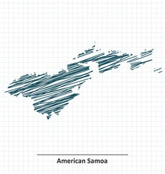 Doodle sketch of american samoa map vector