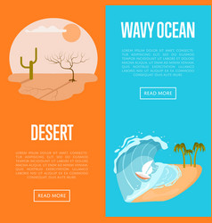 Drought desert and wavy ocean banners vector