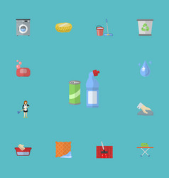 flat icons sponge mopping carpet vacuuming and vector image vector image