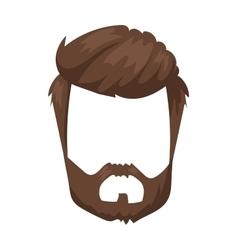 Hairstyles beard and hair face cut mask flat vector