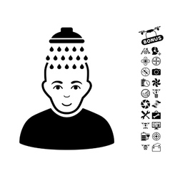 Head shower icon with copter tools bonus vector