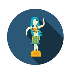 hula dancer statuette icon summer vacation vector image