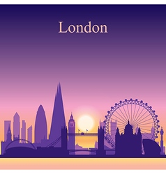 London silhouette on sunset background vector image