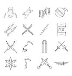 Ninja tools icons set outline style vector
