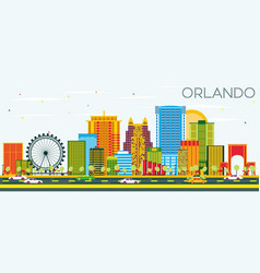 Orlando skyline with color buildings and blue sky vector
