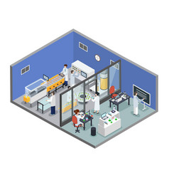 Pharmaceutical research production isometric vector