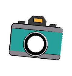 Photo camera device picture lens flash icon vector