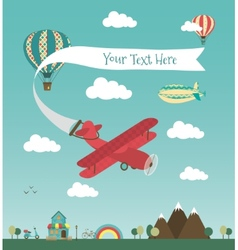 Retro air plane banner design vector