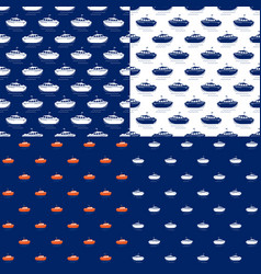 Seamless maritime pattern with lifeboat vector