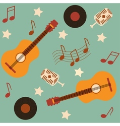 seamless musical pattern with guitars vector image