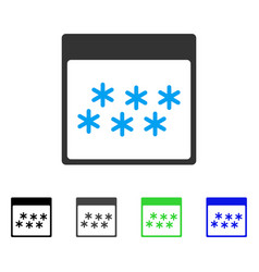 Snowflakes calendar page flat icon vector