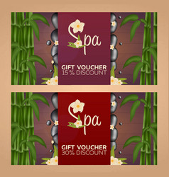 spa salon gift certificate wood texture vector image