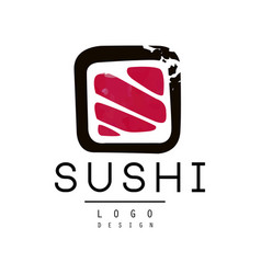 sushi logo design badge for sushi bar or seafood vector image
