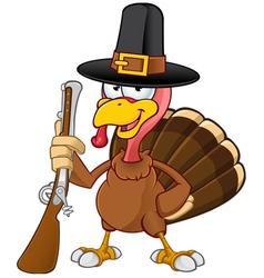 Turkey Mascot Holding A Gun vector image