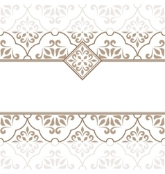 Vintage invitation card with beige ornament vector