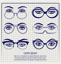 woman eyes with glasses pen poster vector image