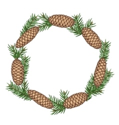 Wreath with fir branches and cones detailed vector