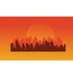 On orange backgrounds urban silhouettes vector
