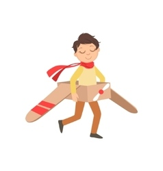 Little Boy In Vintage Pilot Leather Outfit Playing vector image