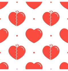 Normal and broken red hearts seamless pattern vector