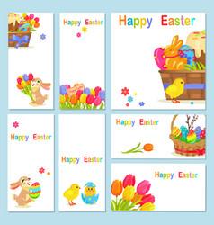 Concept of happy easter chicken flowers bunny vector