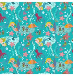 Seamless cartoon background with color mermaid vector