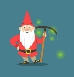 Cute dwarf in a red jacket and hat standing with vector