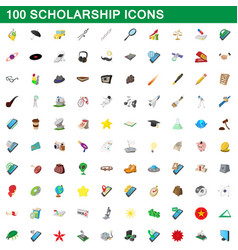 100 scholarship icons set cartoon style vector