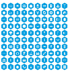 100 grocery shopping icons set blue vector