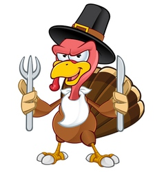 Turkey mascot holding a knife fork vector