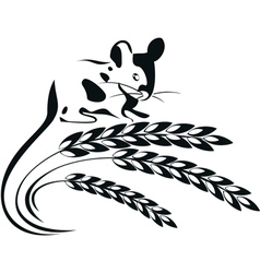 A mouse and wheat spikelets vector