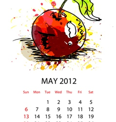 calendar with fruit for 2012 may vector image