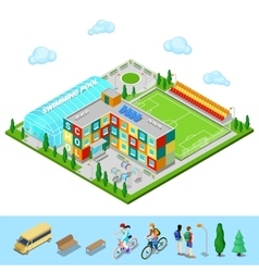 Isometric city school building with swimming pool vector
