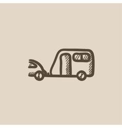 Car with caravan sketch icon vector