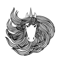 Adult coloring book page with unicorn wave style vector