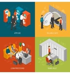 Bank concept icons set vector