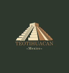 Banner with mesoamerican pyramids in mexico vector