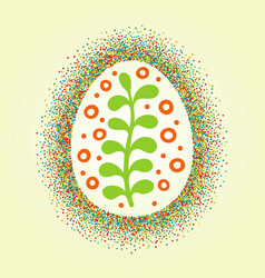 Big easter egg glittering frame and draw ornament vector