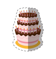 Cake birthday candles dessert shadow vector