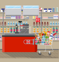 Cashier counter workplace supermarket interior vector