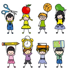 children with school objects vector image vector image