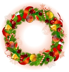 christmas wreath with fir branches and balls vector image