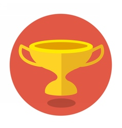 Circle flat icon golden cup vector