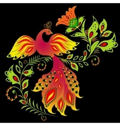 Colorful bird and flower vector image