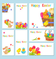 Concept of happy easter chicken flowers bunny vector