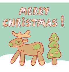 crosslinked Christmas reindeer and tree vector image vector image