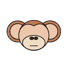 Drawing monkey face animal vector