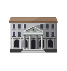 Gray bank building exterior vector