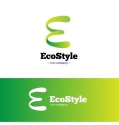green gradient E letter logo Ecology vector image vector image