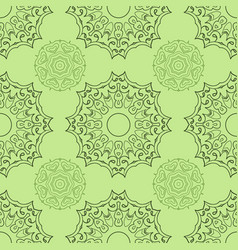 Green seamless doodle pattern ethnic ornament vector